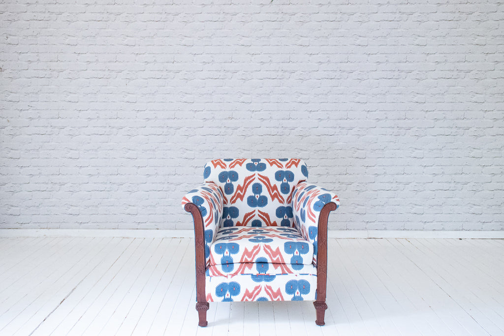 A stunning Victorian armchair in hand-printed cotton by Alef Gallery, Cairo