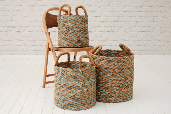 Handmade banana fibre & recycled plastic laundry basket / Turquoise & natural