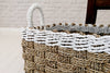 Heavy duty sea grass rectangular baskets with recycled plastic top border and handles
