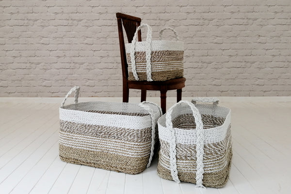 Sea grass baskets with recycled plastic handles and top border