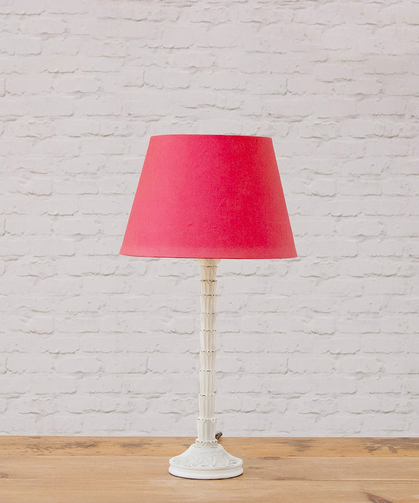 Lisa hand carved & distressed table lamp with red card shade
