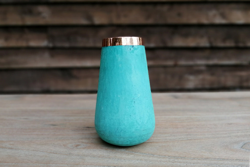 Handcrafted solid copper vases with verdigris exterior-Large