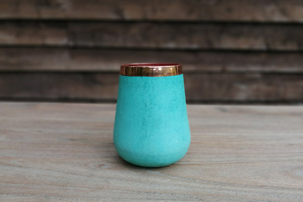 Handcrafted solid copper vases with verdigris exterior-Medium
