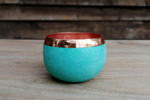 Handcrafted solid copper vases with verdigris exterior-Small