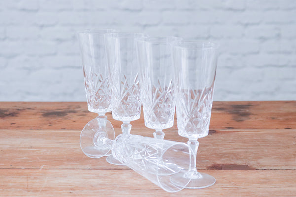 Five Brisley crustal glassware wine glasses