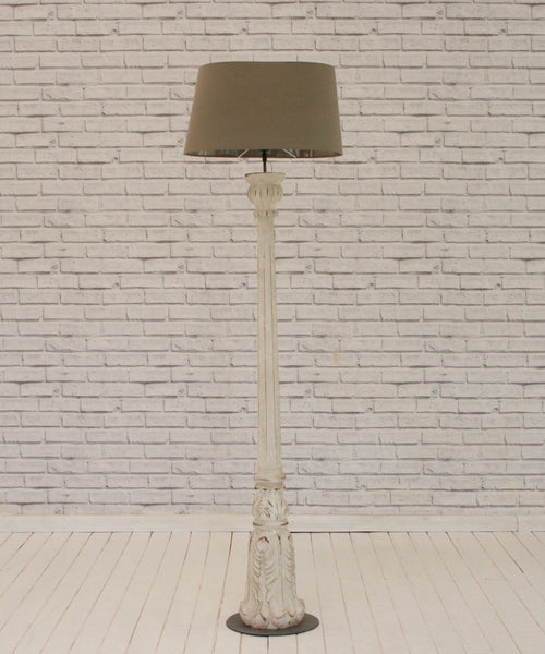 White washed wooden floor lamp with shade