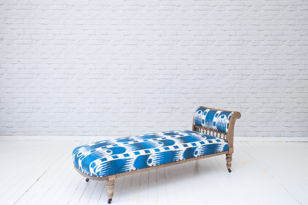 A Victorian oak framed chaise in stunning hand-printed cotton by Alef Gallery, Cairo