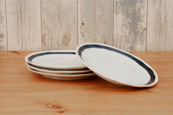 Set of 4 Large Striped Plates