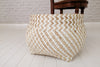 Zigzag pattern bamboo and recycled plastic baskets - White