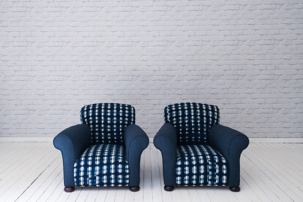 A pair of Victorian (1837-1901) deep seated armchairs in indigo cloth & dark blue cotton