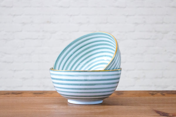 Pale green stripe with gold rim Moroccan hand painted ceramic serving or fruit bowl