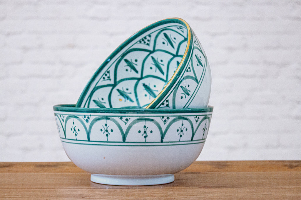 Green & gold Moroccan hand painted ceramic serving or fruit bowl