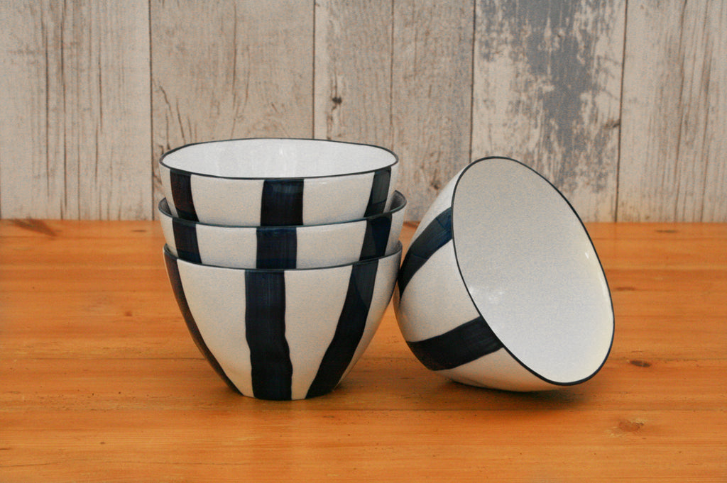 Set of 4 Small Striped Bowls
