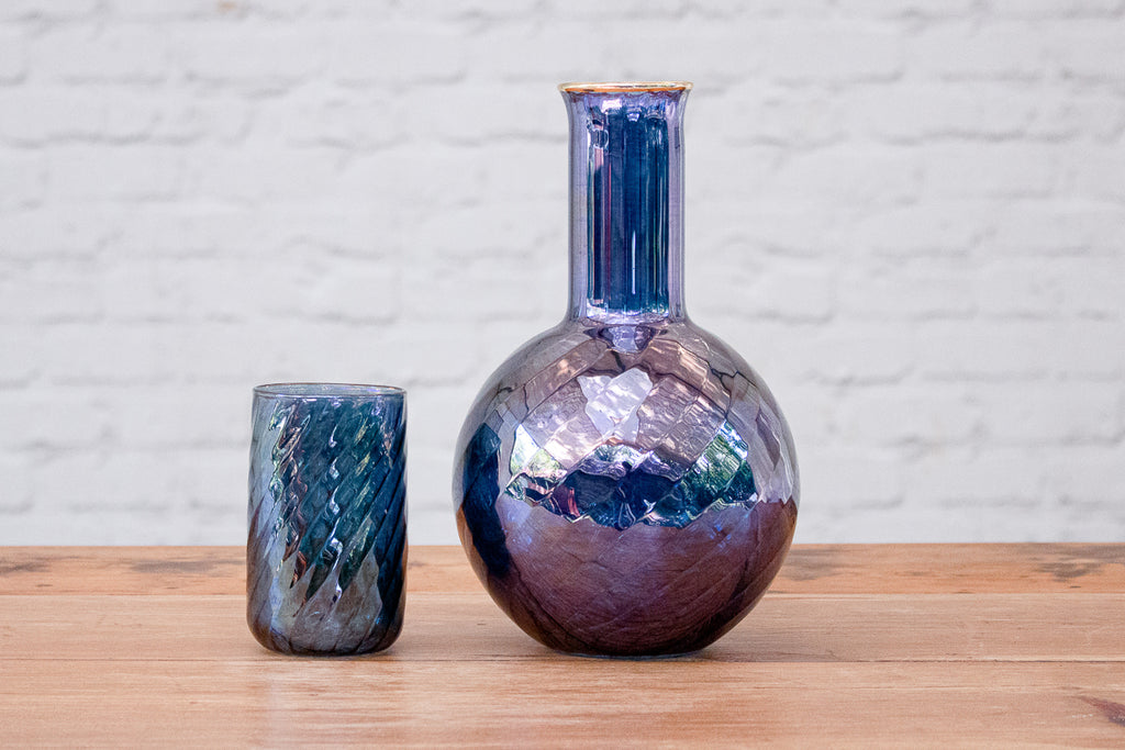 Fine hand-blown lustered water carafe& glass set
