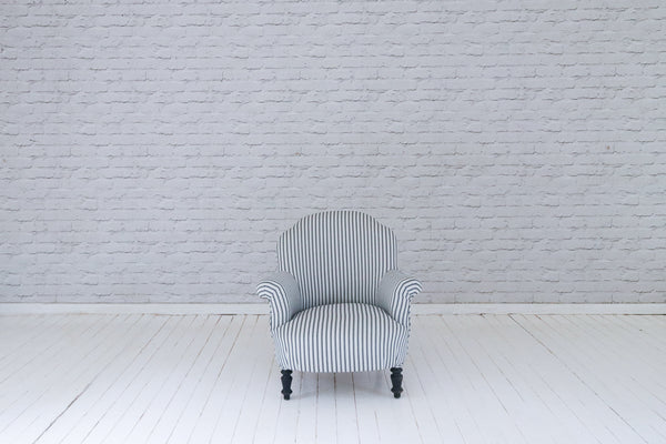 A petite French armchair in black and white Ian Mankin ticking