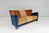 An Art Deco (1925-1940) sofa in velvet & hand loomed Balianese Ikat