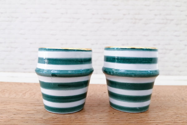 Green & gold hand made Moroccan espresso cups (set of two pcs)