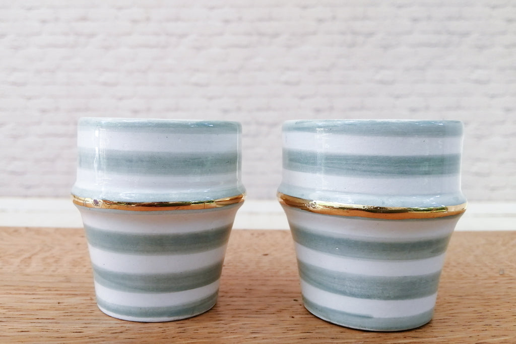 Pale green & gold hand made Moroccan espresso cups (set of two pcs)
