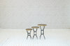 Egyptian brass topped occasional tables with metal legs (S/M/L)