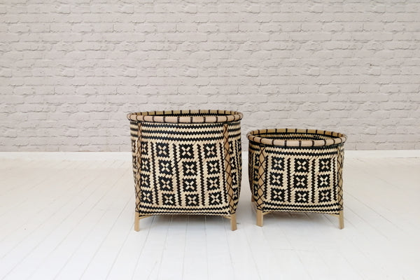 Morocco pattern bamboo and recycled plastic basket