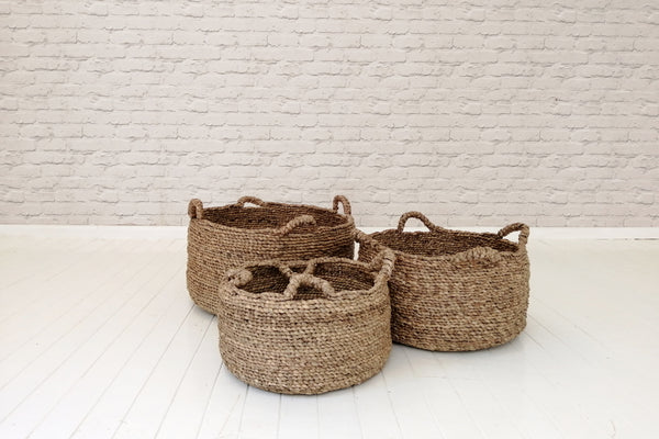 Round water hyacinth baskets