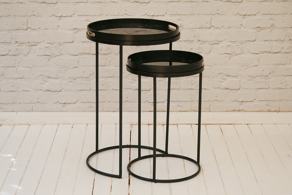 Set of Two Marble Effect Side Tables