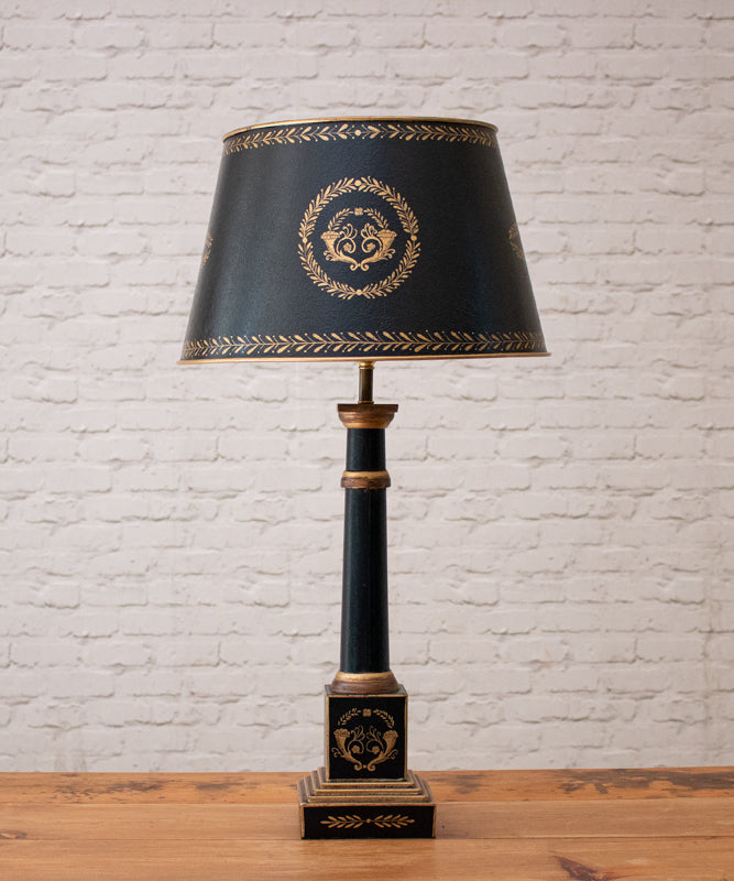 Black Empire Lamp with Shade