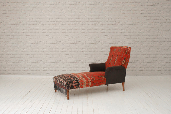 A late 1800s French chaise in precious vintage ceremonial Indonesian Ikat