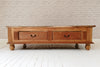 A Javanese vintage teak coffee table with huge storage drawers below