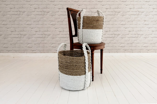 Sea grass basket with recycle plastic handles - White & Natural