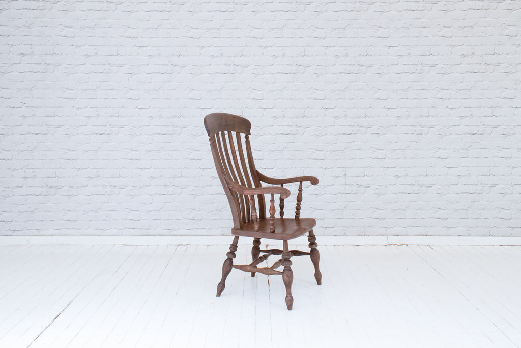 AN ENGLISH ELM GRANDFATHER CHAIR