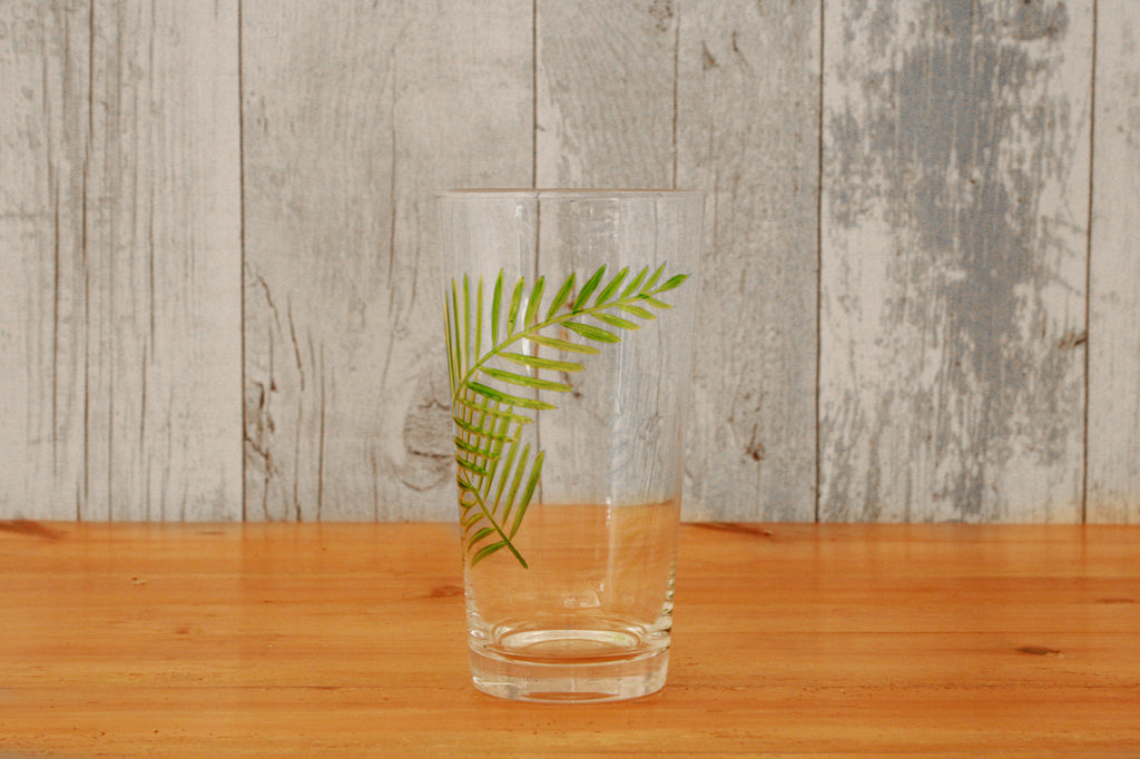 Etched Leaf Motif Glass
