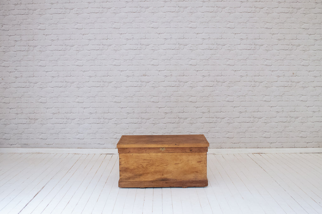A Victorian (1837-1901) waxed pine blanket box