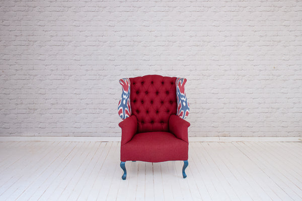 A Victorian wing back armchair