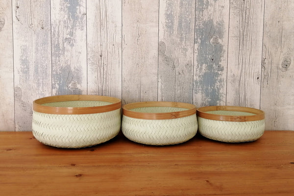 Recycled plastic & bamboo circular baskets