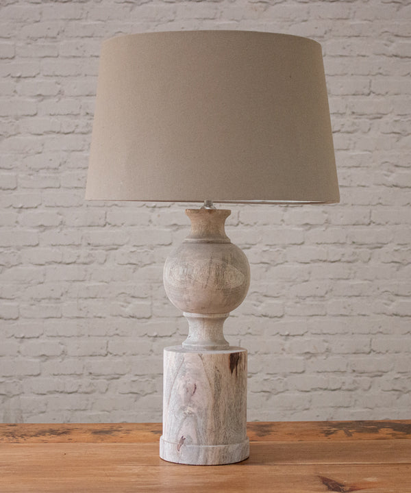 Natural wood lamp with shade