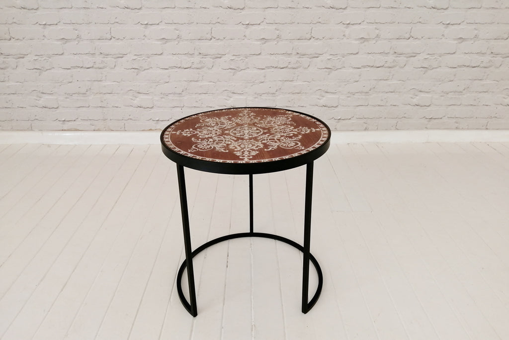 Wood top and black iron side table