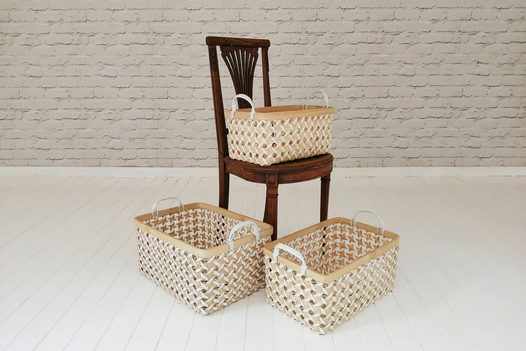 Rectangular Bamboo and recycled plastic storage baskets