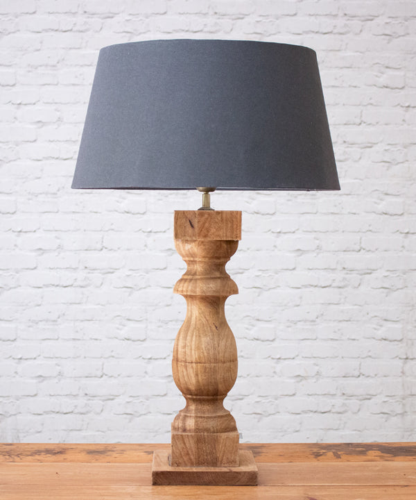Weathered Wood Lamp with Shade