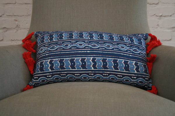 Blue Hand Blocked Cushion Cover with Red Tassels
