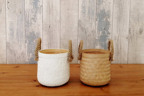 Bamboo small basket with rope handles