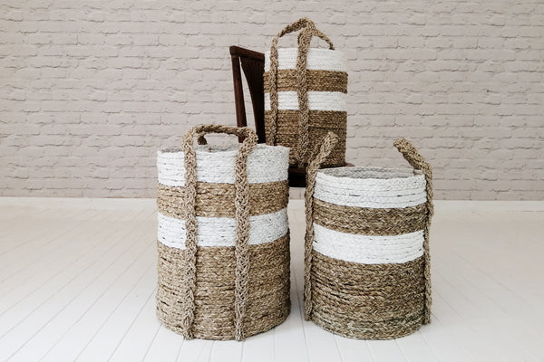 Cylindrical storage basket - White