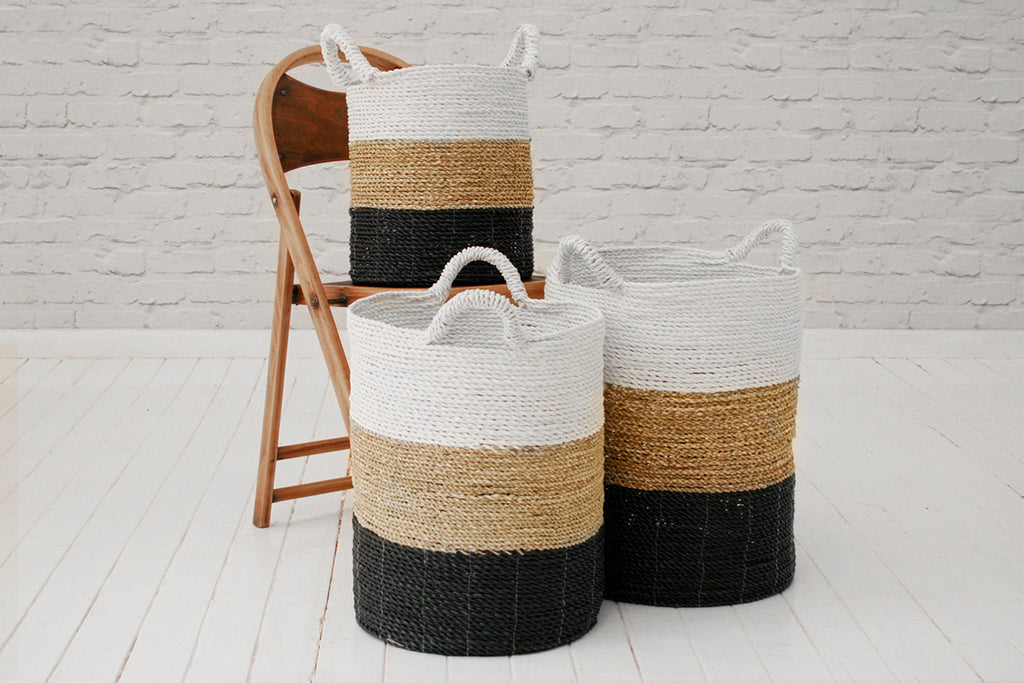 Handmade seagrass & recycled plastic laundry basket / Grey, white & natural
