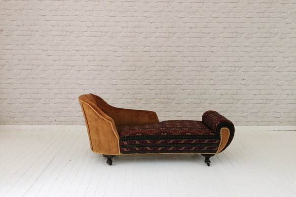An Edwardian chaise in vintage ceremonial Indonesian Ikat & velvet