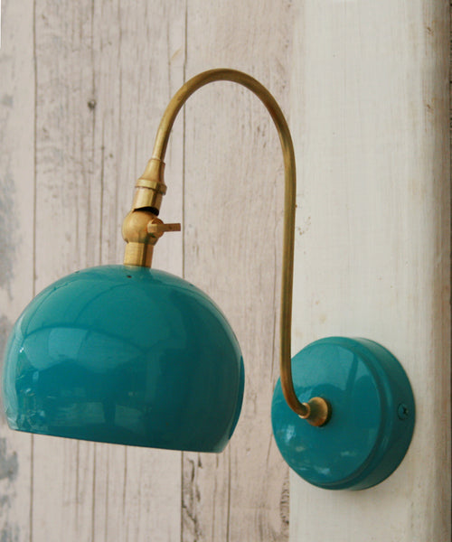 Hand made brass & enamel wall lamp