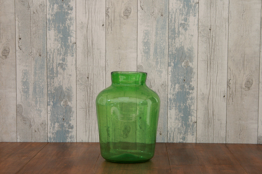 Large Hungarian green glass vase
