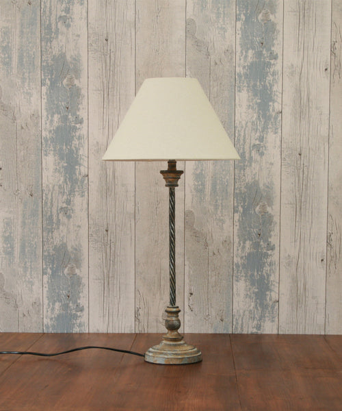 Antique Effect Thin Table Lamp With Shade
