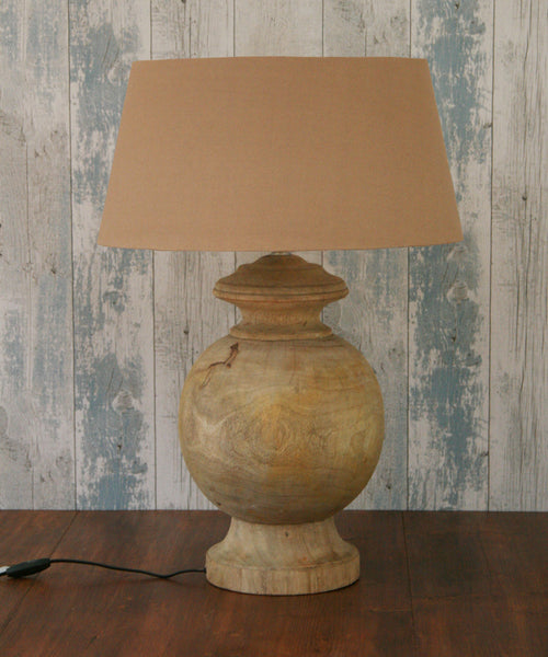 Natural round wood lamp with shade