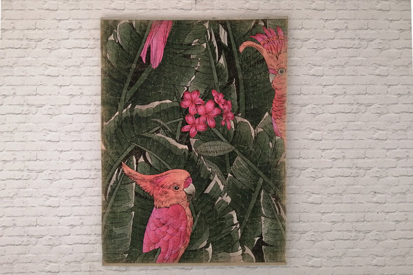 Antiqued parchment paper wall art - PINK CACATOES