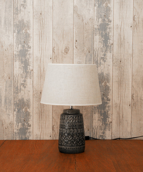 Dark Grey Lamp in Crackle Glaze with Shade